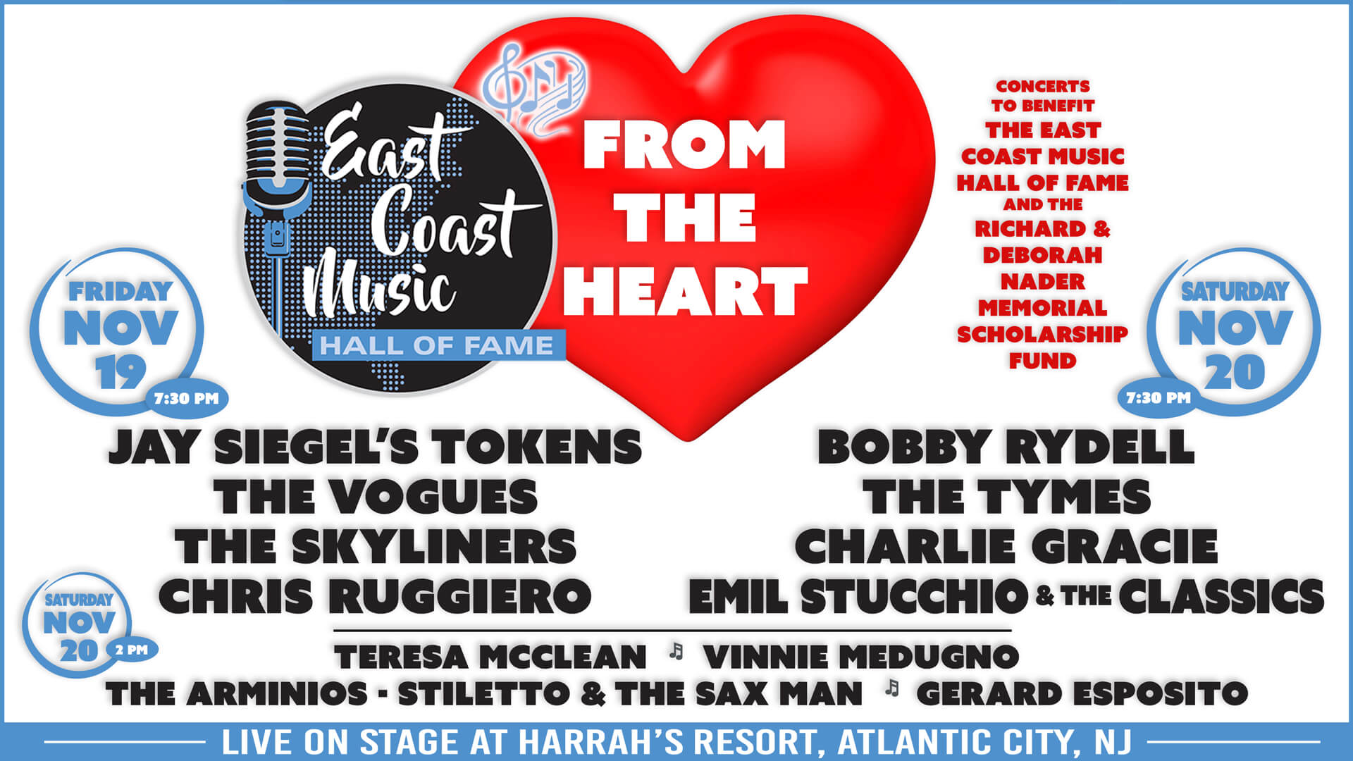 ECMHoF From The Heart Concerts 11-19-21 & 11-20